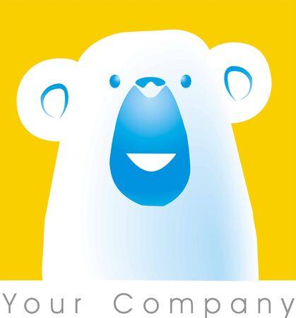 frozen fish: a polar bear logo Stock Photo