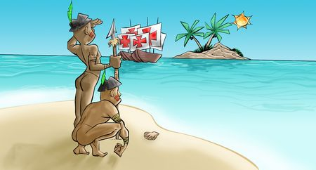 southamerica: The portugueses have arrived in theyer caravels