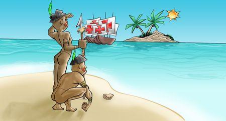 najechać: W portugueses przybyły w theyer karaweli