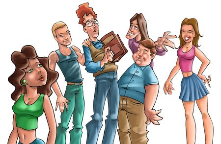 some teenagers talking and one of them has a book in his hand Stock Photo