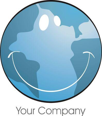 el azul del planeta tierra, sonriente, la imagen de logotipo Foto de archivo - 862425