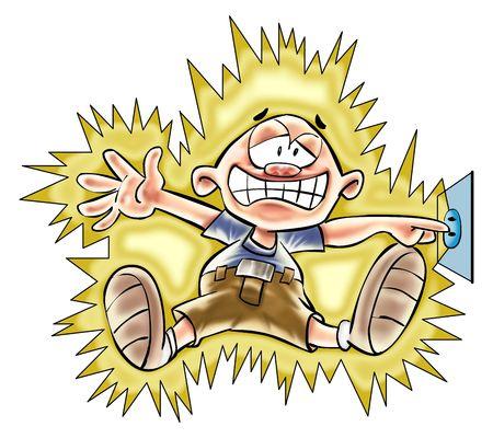 descarga electrica: el ni�o tome el choque en el z�calo.  Foto de archivo