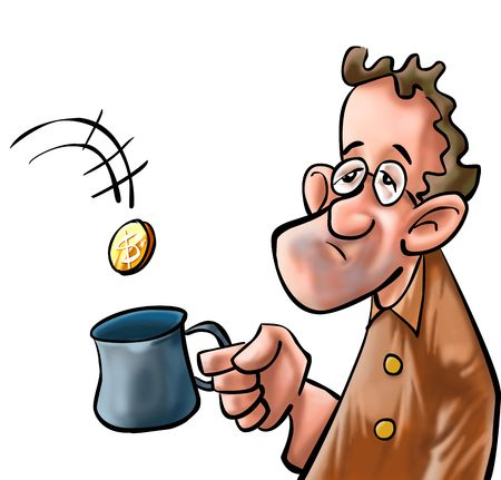 a beggar getting some coin in his mug Stock Photo