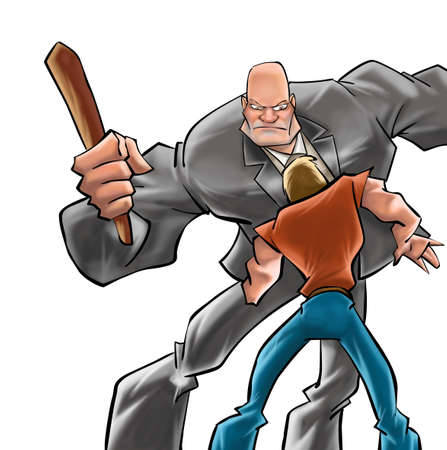 hardened: A big and bald guy figthing with a little boy