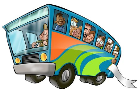 a lot of people in a bus going to a vacation Stock Photo - 915223