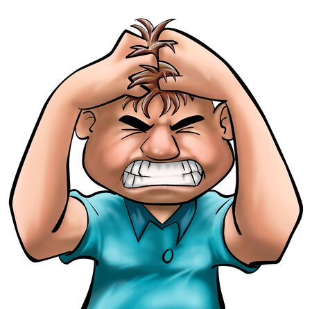grabing: A guy grabing his hair with angry Stock Photo