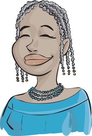 afro girl: Afro girl in a light smile Stock Photo