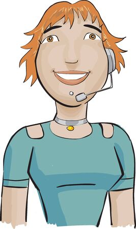 This a girl with a big smille she works in a call center photo
