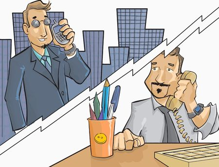 cel: lavoratori parlando di telefono e cel
