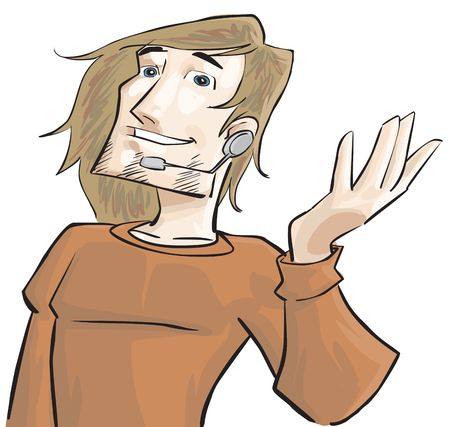 hands free phone: Un tipo con tel�fono manos libres para hablar Foto de archivo