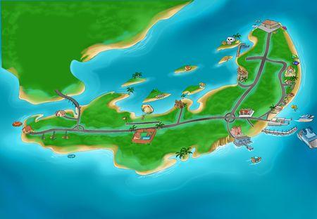 island cartoon: Small island map in ocean