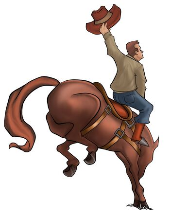 bucking horse: cowboy in a horse jumping