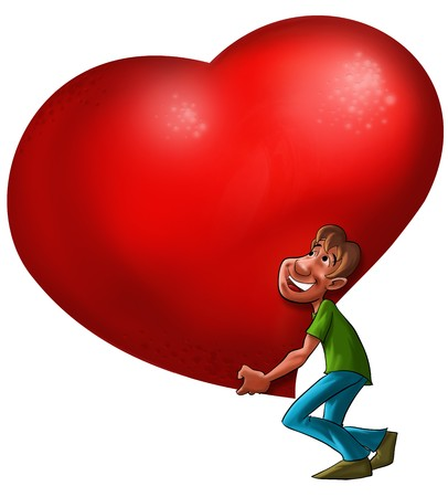 declaration of love: A man carrying a big heart Stock Photo