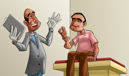 doctor gloves: Doctor and patient cartoon illustration.