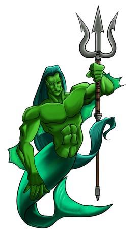 neptun: Eine mythische, illustrierte Figur. halb Mensch und halb Fisch. halten einen Dreizack. White background