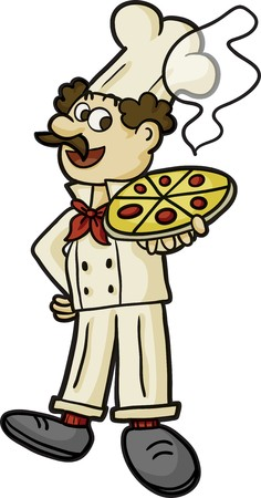 manservant: a pizzaiolo carrying a big delicios pizza