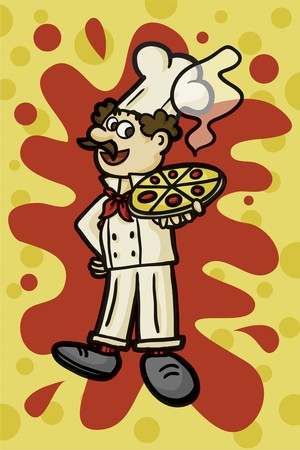 manservant: a pizzaiolo carrying a big pizza with a background Stock Photo