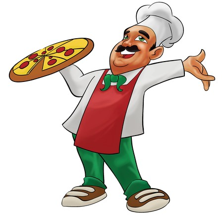 pizza chef: a pizzaiolo carrying a big delicious pizza Stock Photo
