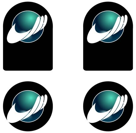 Some variation from a company logo, hand with globe Stock Photo - 7823016