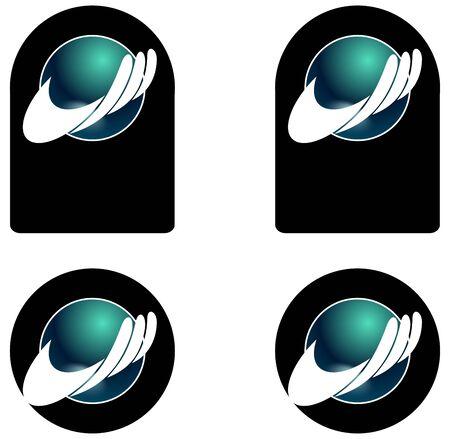 globe logo: Some variation from a company logo, hand with globe Stock Photo
