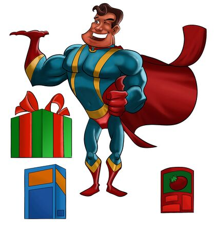 A cartoon illustration of a  hero in a red cape smiling and with one hand raised as if carrying a product. This illustration includes separate pictures of a gift box, a can of tomatoes and a generic box. Stock Illustration - 7823023