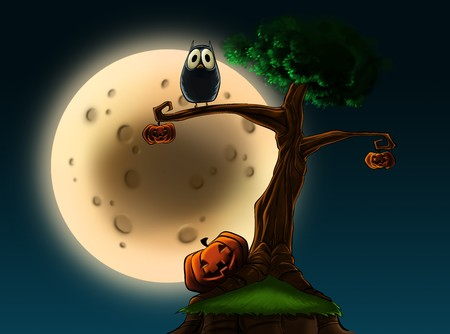 An illustration of a Halloween tree with pumpkins and an owl in front of a full moon.
