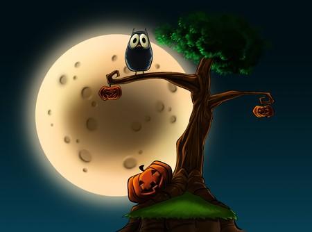Eine Illustration ein Halloween-Baum mit Kürbisse und eine Eule an Vollmond.  Standard-Bild - 7823025