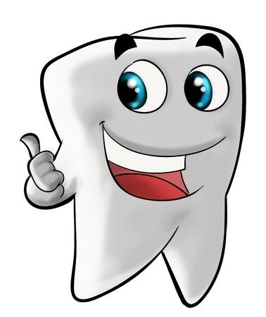 Dessin illustration de sourire dents molaires gesticulant avec le pouce. isolé sur fond blanc.