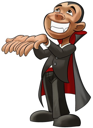 cartoon bat: A little boy smiling with a vampire disguise