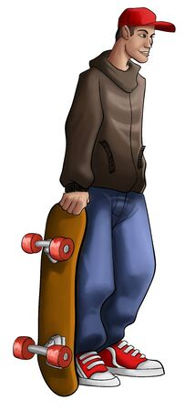 skater with a grunge wear and a red hat Stock Photo - 8039881