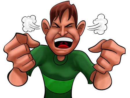 A guy too angry with green shirts Stock Photo - 8039879