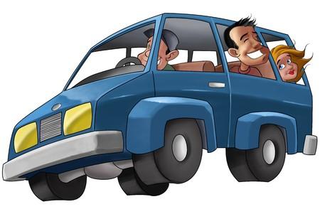 vacante: Algunas personas en un autom�vil en un viaje de vacantes