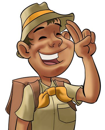 young happy scout doiing a hand sign