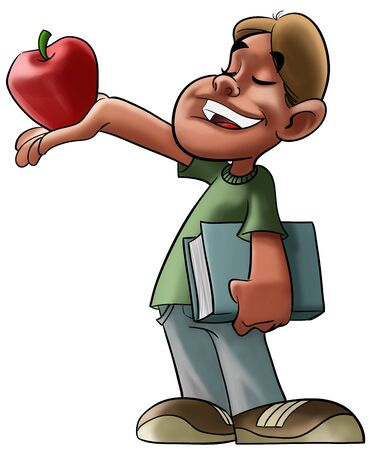 boy with a book in his hand is offering a apple to some one photo