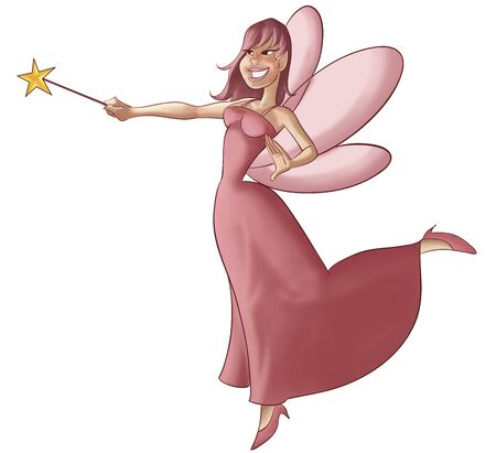 a beautiful and young fairy flying and doing some magic Stock Photo