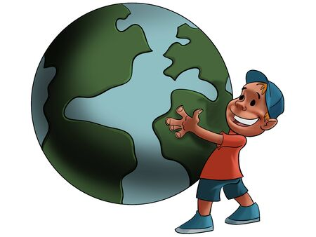 a boy with hat holding a big globe photo