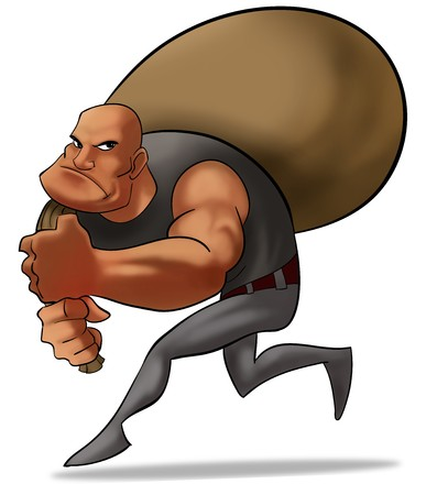 crook: a bad robber with a sack of money, he is running careful