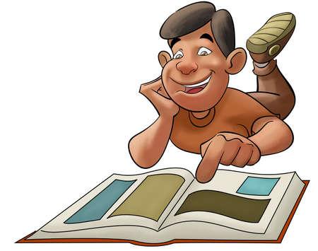 niño feliz con un libro de lectura y viendo algunas imágenes  Foto de archivo - 8039885