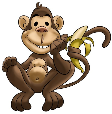friends eating: happy monkey smiling and with a banana in his tail Stock Photo