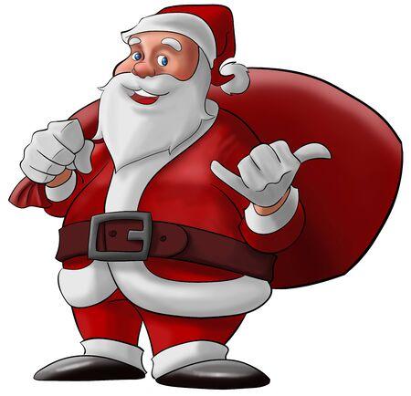cartoon santa clause: santa claus doing a hang loose and smiling with his bag