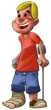 crutch: a young and smiley boy with a broken leg