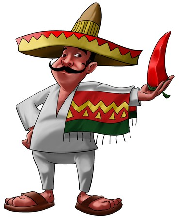 mexican cartoon: a traditional mexican with a sombrero and a big jalapeno