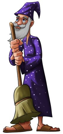 a old wizard with a purple hat and a broom photo