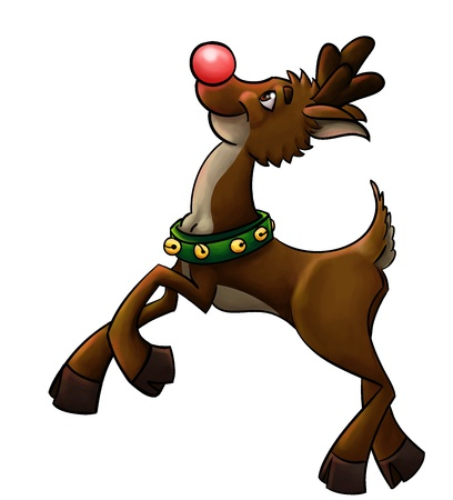 rudolph the red nose reindeer starting to fly Stock Photo - 8632219