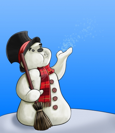 snowman with a broom blowing some snowflakes to the air  photo
