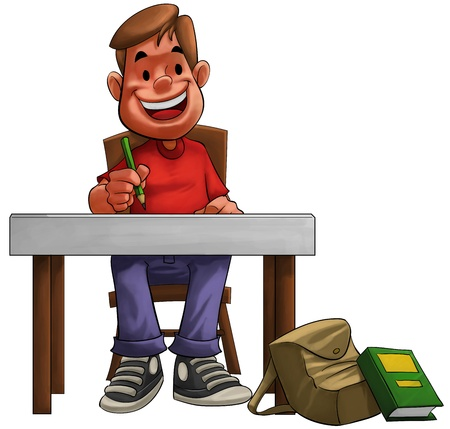 cartoon teenager: a young hard student doing his home work