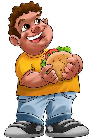 fat boy smiling and ready to eat a big hamburger  Stock Photo