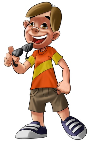 young boy with shorts and a orange shirt and sunglasses Stock Photo - 8632687