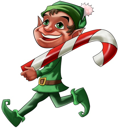 cane: smiling Christmas elf walking with a big candy