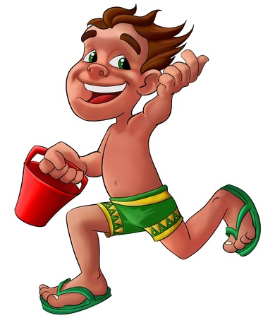 beach bucket: boy with a green shorts running with a red bucket Stock Photo